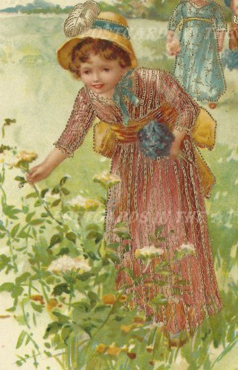 Children Picking Flowers The Milton Series Woodstone Bros. London Vintage