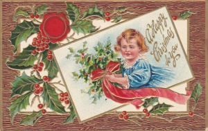 CHRISTMAS, Blonde Girl , Mistletoe, A Happy Christmas To You, PU-1908