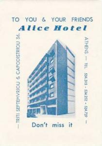 GREECE ATHENS ALICE HOTEL VINTAGE LUGGAGE LABEL