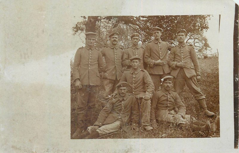 Postcard social history portrait army group photo soldiers
