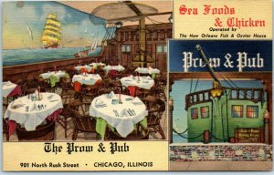 1940s CHICAGO Illinois Postcard THE PROW & PUB Restaurant 901 Rush Street Linen