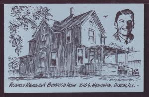 Ronald Reagan's Boyhood Home Dixon IL Post Card 3472