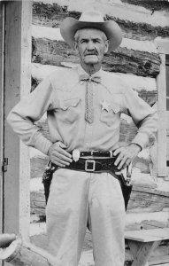 RPPC Sheriff at Buckskin Joe's O.D. Pruitt Colorado Theme Park 1960 Postcard
