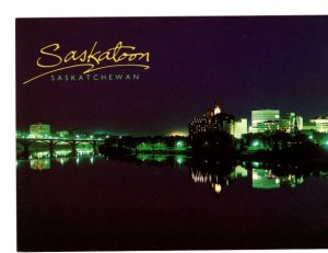 Skyline at Night Saskatoon, Saskatchewan, Large Approx. 5 X 7 inch Postcard