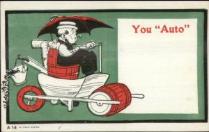 Old Man Smoking Pipe Driving Beer Keg Steamroller Car YOU AUTO Postcard