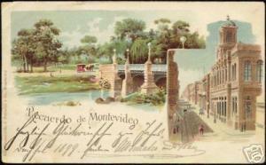 uruguay, MONTEVIDEO, Street Scene, Bridge (1898) Litho