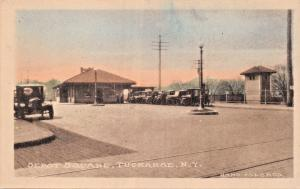 TUCKAHOE NEW YORK~DEPOT SQUARE~A M SIMON PUBL HAND COLORED PHOTO POSTCARD