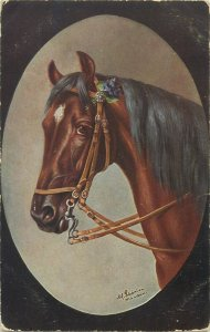Horse M. Schonian artist signed old postcard