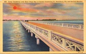 Florida St Petersburg Corey Causeway Over Boca Ciega Bay At Sunset Curteich