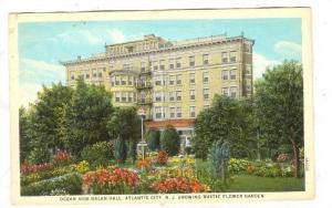 Ocean side Galen Hall, showing rustic flower garden, Atlantic City, New Jerse...