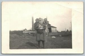 RPPC Please Don't Take My Dolly, It's Mine~Farm Girl Holds Back Tears~c1914