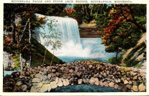 Minnesota Minneapolis Minnehaha Falls and Stone Arch Bridge 1934