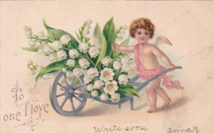 Valentine's Day To One I Love Cupid With Wheelbarrow Filled With Flowers