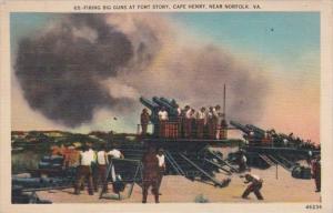 Virginia Cape Henry Firing Big Guns At Fort Story Near Norfolk 1946