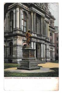 Boston MA Benjamin Franklin Statue City Hall UDB Postcard