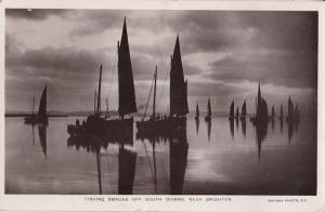 Fishing Boats Smacks Brighton Real Photo Old Postcard