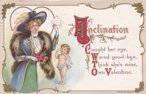 VALENTINE'S DAY; Cupid, Woman holding roses & handkerchief, Poem, PU-1910