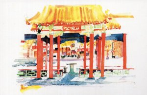 Hing Hay Park Seattle Washington Stunning Sketch Painting Postcard