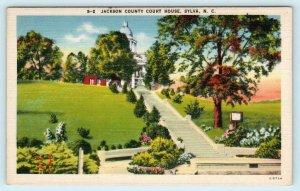SYLVA, North Carolina NC ~ Jackson County COURT HOUSE ca 1940s Linen Postcard
