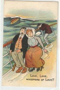 Love, love. Whispers of love!! Humorous vintage English postcard