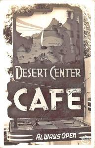 Desert Center CA Cafe Neon Sign Real Photo RPPC Postcard