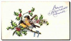 Old Postcard Happy Happy Year birds