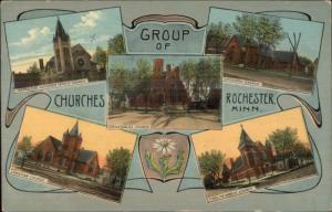 Rochester MN Churches Multi View c1910 Postcard #1