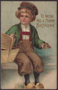 A Happy Birthday,Dutch Boy Postcard