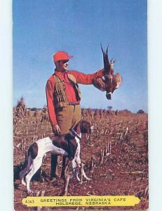 Pre-1980 Hunting RETRIEVER DOG WITH BIRD HUNTER Holdredge Nebraska NE hn4317