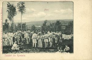 romania, Salutări din Romănia, Hora Circle Dance (1899) Greetings Postcard