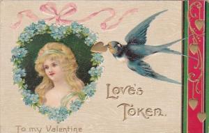 Valentine's Day Blue Dove Delivering Gold Heart 1908