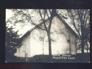 RPPC MASSILLON IOWA PUBLIC SCHOOL BUILDING VINTAGE REAL PHOTO POSTCARD