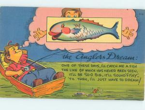 Linen comic SLEEPING FISHERMAN DREAMS OF CATCHING BIG FISH HJ2013