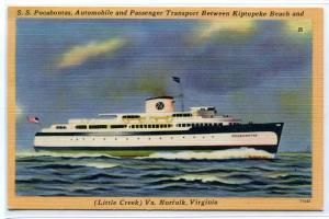 SS Pocahontas Ferry Ship Boat Kiptopeke Beach Norfolk Virginia linen postcard
