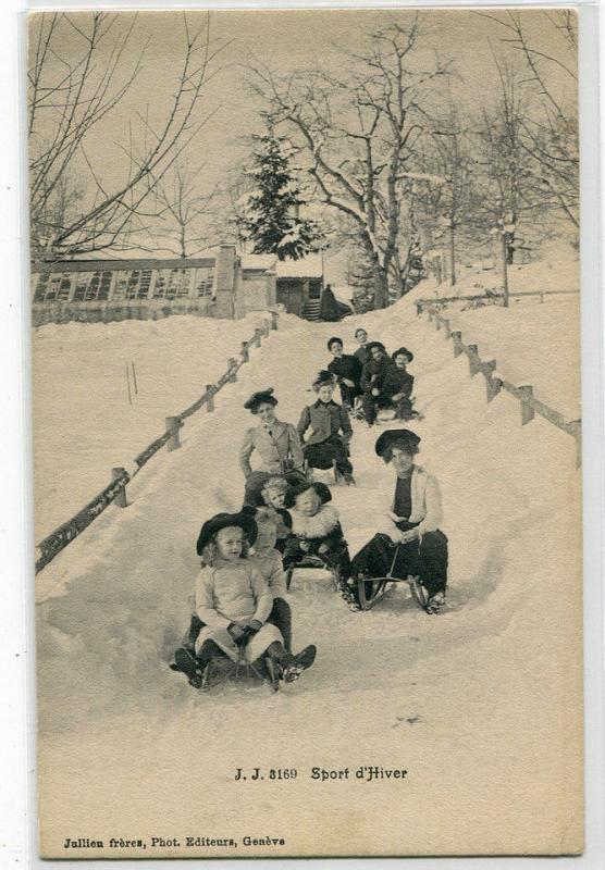 Toboggan Sled Winter Sport d'Hiver Switzerland 1910c postcard