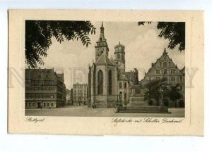131275 Germany STUTTGART Church & Schiller Monument Vintage PC