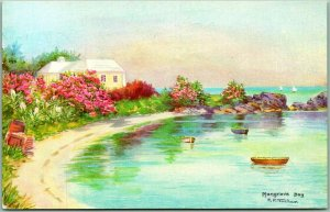 Vintage Mangrove Bay, BERMUDA Postcard Artist-Signed C.F. TUCKER w/ 1973 Cancel