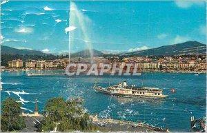 Postcard Modern Rade Geneva Jet d'Eau 120m and 4810m Mont Blanc