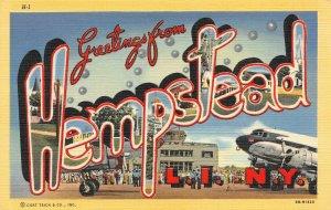 LP74   Hempstead L. I. New York Large Letter postcard Curteich Art Deco