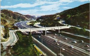 Cahuenga Pass Hollywood Freeway Los Angeles CA Postcard D81 UNUSED