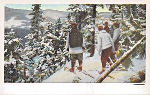 SNOWSHOEING-SNOWSHOES-IN PINES ON STEEP MOUNTAIN~MAX SCHWARZ PUBL POSTCARD 1920s