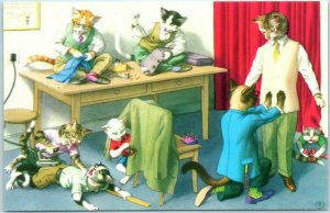 Artist-Signed MAINZER Cat Postcard Tailor Clothing Store Iron Sewing ALMA 4894