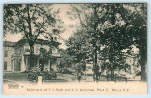 NUNDA, New York NY ~ Residences F.C. PECK & B.P. RICHMOND West Street  Postcard