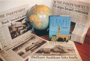 Postcard Military the gulf war 1991 kuwait newspaper head lines Earth globe