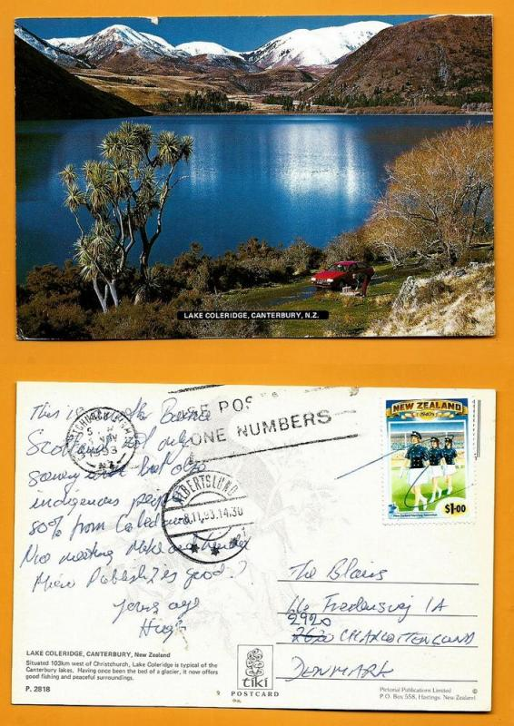 NEW ZEALAND POSTCARD-STAMP-LAKE COLERIDGE-CANTERBURY N.Z