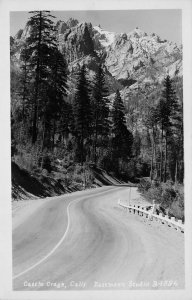 RPPC CASTLE CRAGS Castella, CA Highway Scene ca 1940s Eastman Vintage Postcard