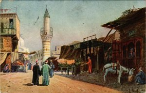 PC CPA ARABIAN TYPES AND SCENES, MARKET AND STREET, Vintage Postcard (b17380)