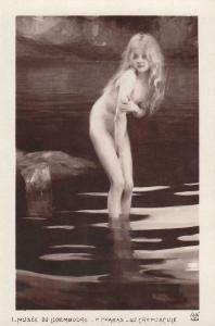 Early art postcard P. Chabas bathing beauty