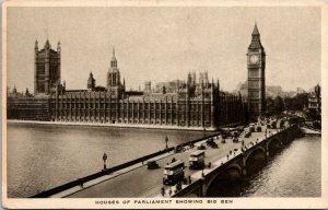 Raphael Tuck Gravure Houses of Parliament Showing Big Ben London England Postcar
