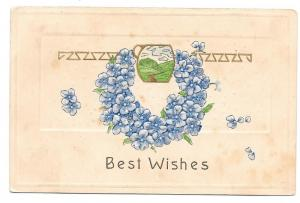 Best Wishes Forget Me Not Wreath Embossed Vntg 1908 Postcard